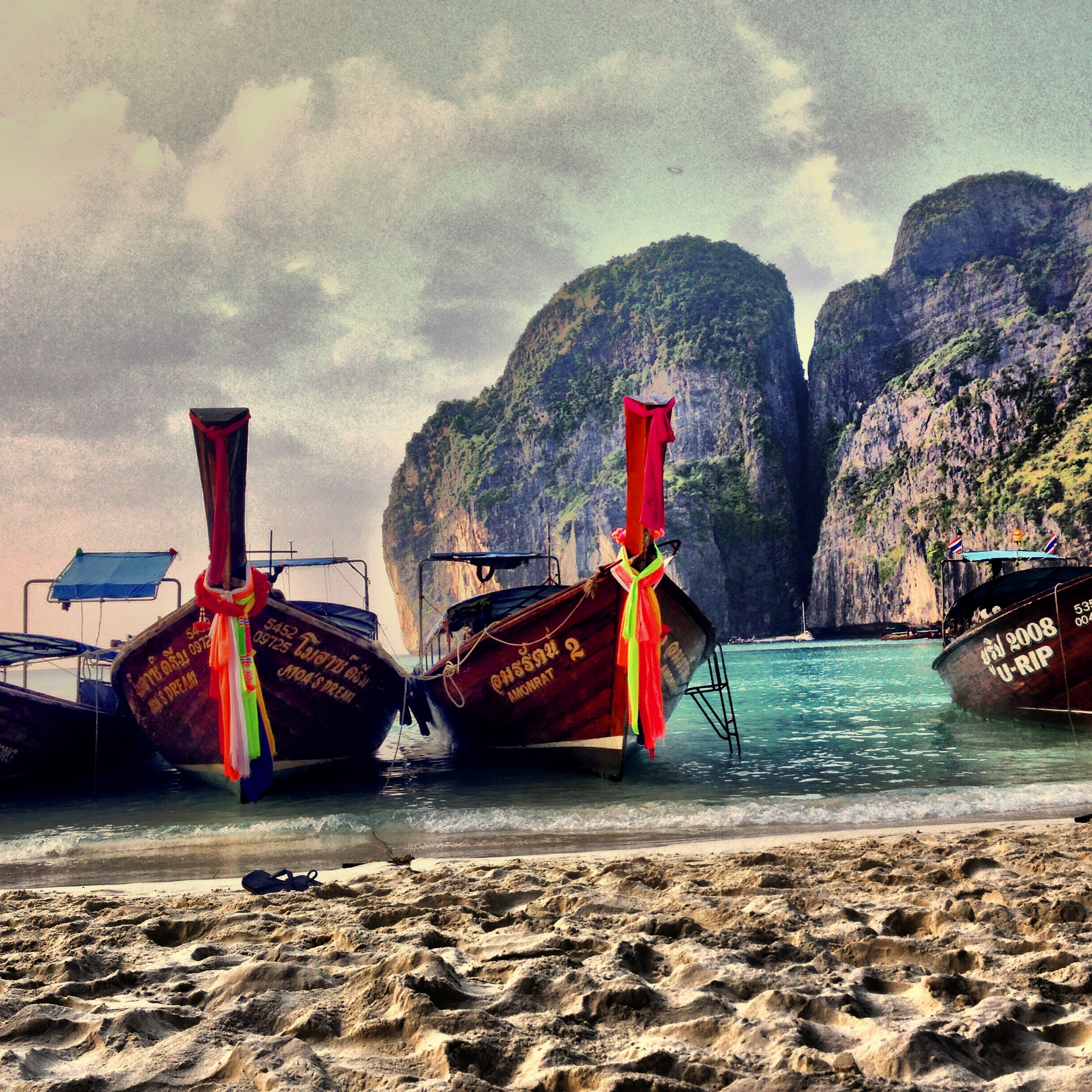 Long Tails lined up at Maya Bay