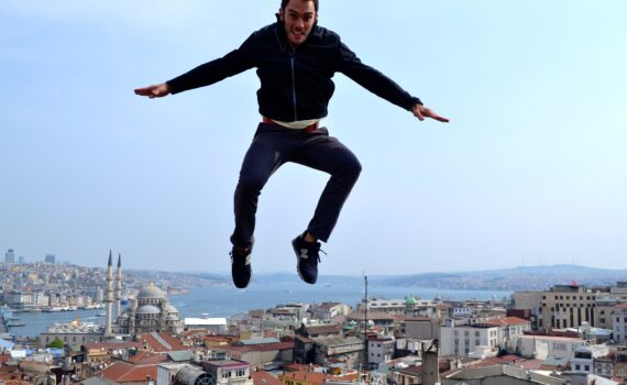 Mid-air jumping picture on a roof in Istanbul