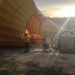 Hot air balloon being filled up in Cappadocia, Turke