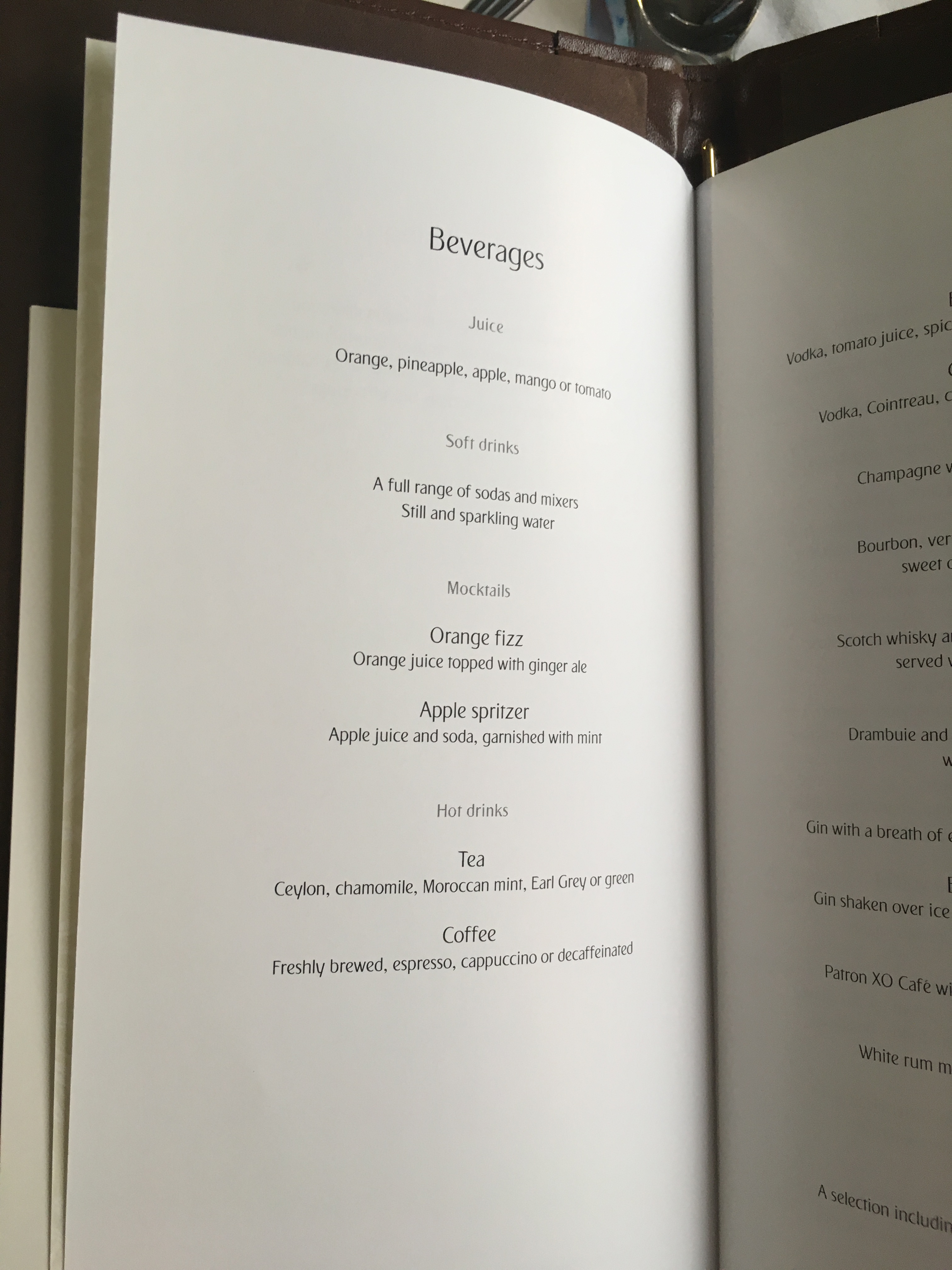 Emirates First Class Beverage Menu